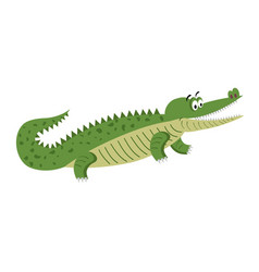 green cartoon crocodile in natural pose isolated vector image