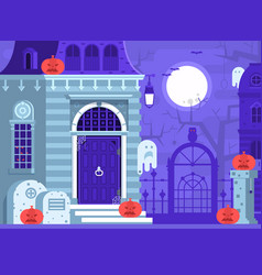 Halloween scene with haunted house vector