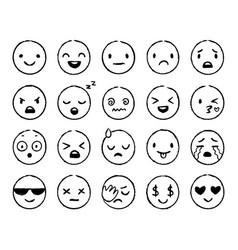 hand drawn emoji doodle emoticons smile face vector image