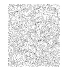 Hand drawn flower coloring page vector