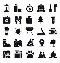 Hiking and camping icons set outdoor camp sign vector