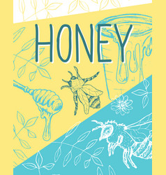 isolated honeycomb sketched poster with bees and vector image
