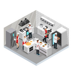 Isometric restaurant cooking room concept vector