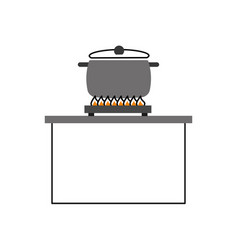 Kitchen pot with stove vector