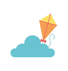kite flying toy with cloud vector image