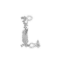 letter l floral ornament vector image