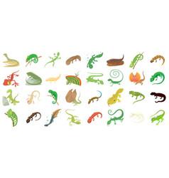 Lizard icon set cartoon style vector