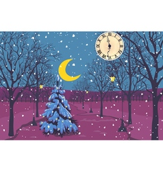 Magic Christmas night in a park vector image vector image