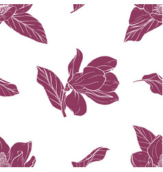 Magnolia bouquet seamles pattern vector