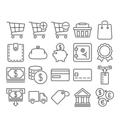 modern line style icons finance and banking vector image