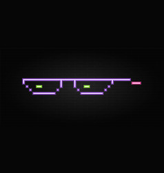 neon glasses pixel on building wall background vector image