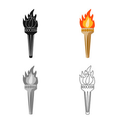 Olympic torch icon in cartoon style isolated on vector