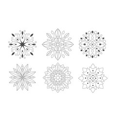 ornamental round graphic flowers set black and vector image