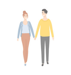 people man and woman walking and holding hands vector image