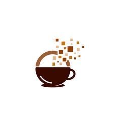pixel coffee logo icon design vector image
