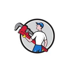 Plumber Carry Monkey Wrench Walking Circle Cartoon vector image