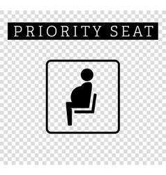 Pregnant mom or mother sign priority seating vector
