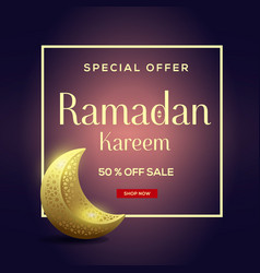 Ramadan kareem sale with moon background vector