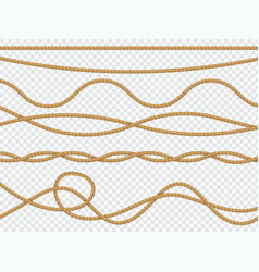 realistic fiber ropes curve rope nautical cord vector image