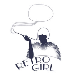 Retro style emblem representing a flapper girl vector