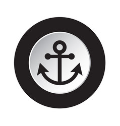 Round black and white button - boat anchor icon vector