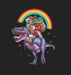 Santa claus ride dinosaur grap vector