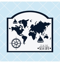 Sea life design map and nautical concept vector