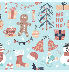 Seamless cartoon christmas pattern vector