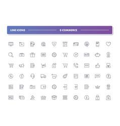 Set 60 line icons e-commerce vector