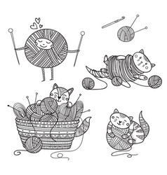 set cute cats playing with yarn ball coloring vector image