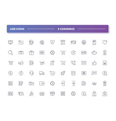 Set of 60 line icons e-commerce vector