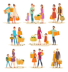 Set of isolated people family at supermarket vector