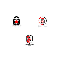 set of secure camera logo template design vector image
