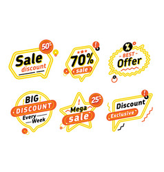 set of speech bubbles with discount offers vector image