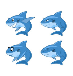 shark comic cartoon set vector image