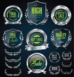 Silver sale shields laurel wreaths and badges vector