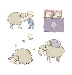 sleeping boy and cute cartoon sheep good night vector image