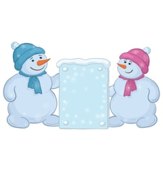 Snowmen boys with sign vector