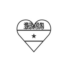 somaliland flag icon in a heart shape in black vector image