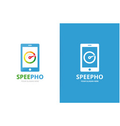speedometer and phone logo combination vector image