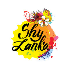 stamp or label with name sri lanka vector image