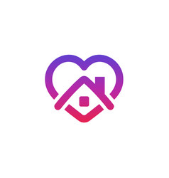 Stay home icon home and heart vector