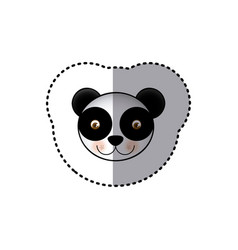 Sticker colorful picture face cute panda animal vector