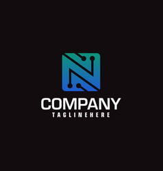 technology logotype forming the letter n minimal vector image
