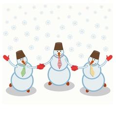 three cheerful snowmen vector image