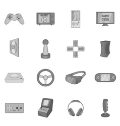 Video game icons set black monochrome style vector