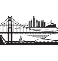 view san francisco from golden gate bridge vector image