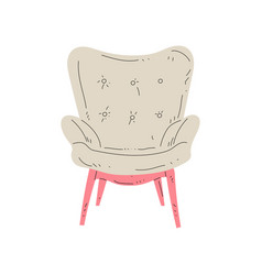 Vintage comfortable armchair on wooden legs vector