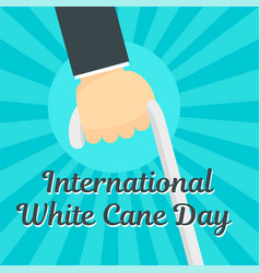 white cane day concept background flat style vector image