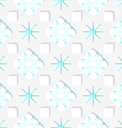 White snowflakes with blue inner parts seamless vector